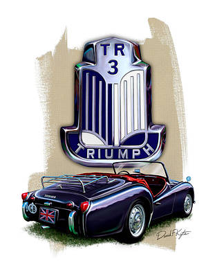 Tr Digital Art - Triumph Tr-3 Sportscar by David Kyte