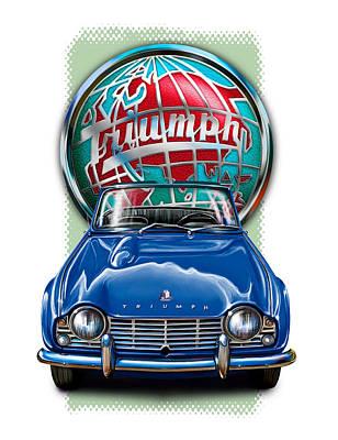 British Digital Art - Triumph Tr-4 British Sportscar In Blue  by David Kyte