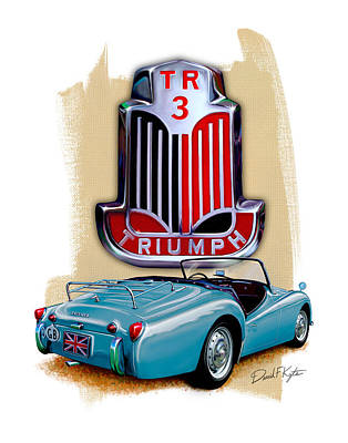 Wire Digital Art - Triumph Tr_3 Sports Car In Blue by David Kyte