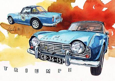 Roadster Painting - Triumph Tr4 by Yoshiharu Miyakawa