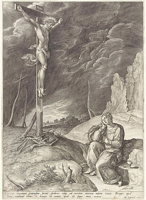 Weep Drawing - Triumphant Christ On The Cross, Hieronymus Wierix by Hieronymus Wierix And Hans Liefrinck (i)