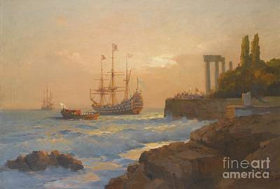 Triumphant Ship Approaching The Harbour Art Print