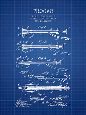 Trocar Patent From 1915 - Blueprint Art Print