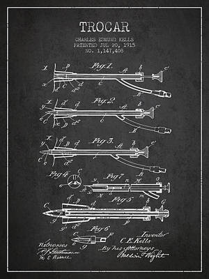 Trocar Patent From 1915 - Charcoal Art Print
