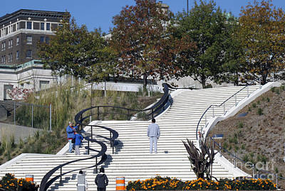 Photograph - Trois-rivieres Downtown's Stairs by Andre Paquin