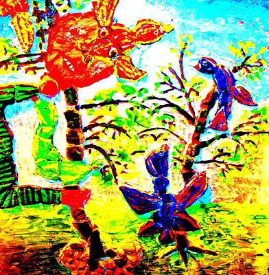 Featured Tapestry Designs - Nice Birds Are Coming But The Evil Troll Is Defending His Trees  by Hilde Widerberg