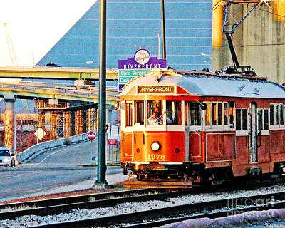 Photograph - Trolley At The Pyramid Memphis by Lizi Beard-Ward