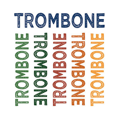 Trombone Digital Art - Trombone Cute Colorful by Flo Karp