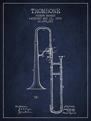 Trombone Patent From 1902 - Blue Art Print by Aged Pixel