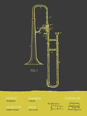 Music Digital Art - Trombone Patent From 1902 - Modern Gray Yellow by Aged Pixel