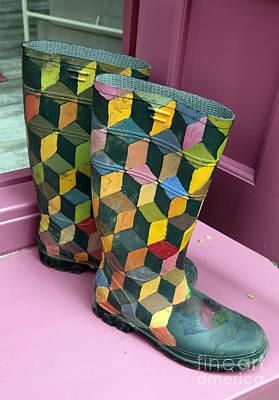 Trompe Loeil Wellington Boots Art Print by Ros Drinkwater