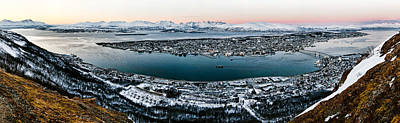 Norway Photograph - Tromso From The Mountains by Dave Bowman