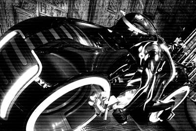 Tron Motor Cycle Art Print by Michael Hope