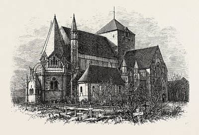 Tr Drawing - Trondjhem Cathedral Or Trondheim  Cathedral by Norwegian School
