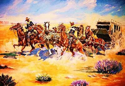 Painting - Troopers Stopping A Runaway Coach by Al Brown