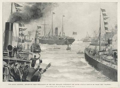 New Zealand Drawing - Troops Leaving Wellington, New Zealand by  Illustrated London News Ltd/Mar