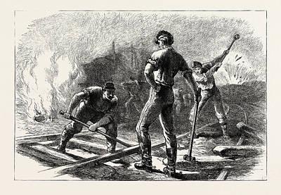 Tears Drawing - Troops Tearing Up A Railway, American Civil War by American School