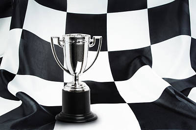 Checkered Black-and-white Photograph - Trophy  by Les Cunliffe