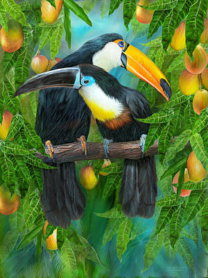 Tropic Spirits - Toucans Art Print by Carol Cavalaris