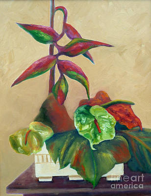 Painting - Tropical Arrangement by Carolyn Jarvis
