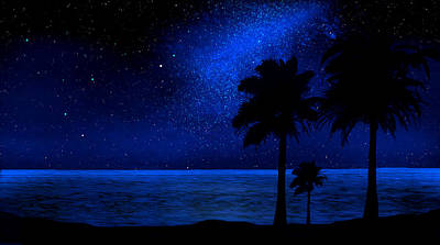 Glow In The Dark Painting - Tropical Beach Wall Mural by Frank Wilson
