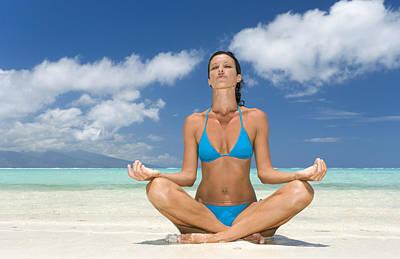 Tropical Beach Yoga Art Print