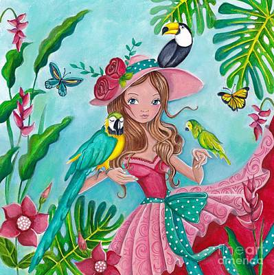 Flower Pink Fairy Child Painting - Tropical Bird Love by Caroline Bonne-Muller