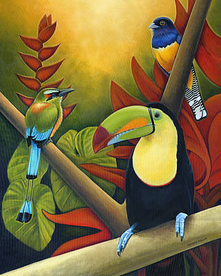 Toucan Painting - Tropical Birds by Nathan Miller