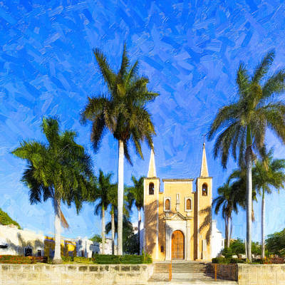 Photograph - Tropical Church In The Barrio Of Santa Ana by Mark E Tisdale