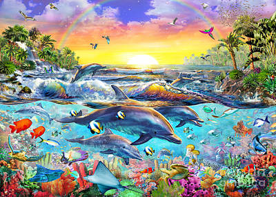 Dolphins Digital Art - Tropical Cove by Adrian Chesterman
