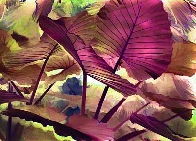 Abstract Beach Landscape Digital Art - Tropical Elephant Ears Autumn  by Robin Curtiss