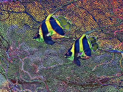 Painting - Coral Reef Tropical Fish Colorful Water Art by David Mckinney