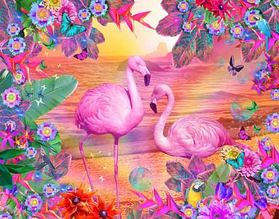 Seaside Digital Art - Tropical Flamingo by Alixandra Mullins