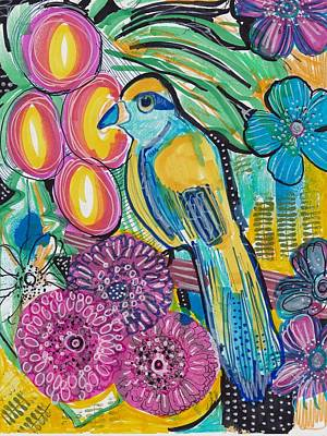 Mixed Media - Tropical Flower Bird by Rosalina Bojadschijew