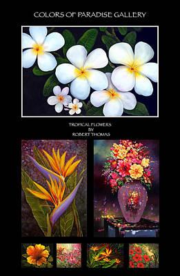 Robert Thomas Painting - Tropical Flowers by Robert Thomas