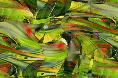 Digital Art - Tropical Forest And Birds by rd Erickson