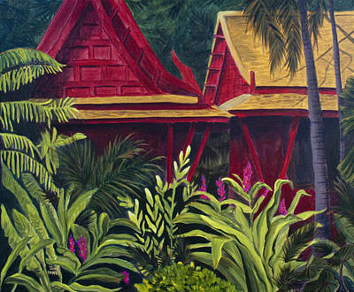 Painting - Tropical Getaway Jungle With Red Bungalows Jim Thompson Museum Painting by Jaime Haney