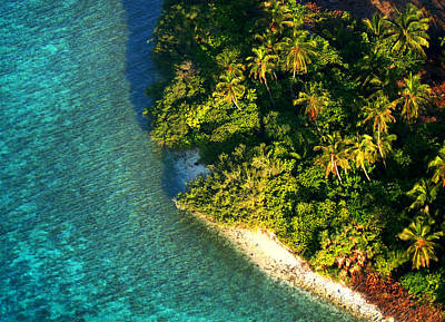 Tropical Island From Above. Aerial Journey Over Maldives  Print by Jenny Rainbow