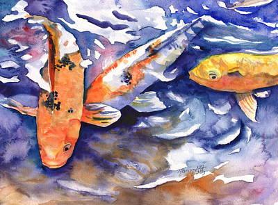 Hawaiian Fish Painting - Tropical Koi Fish by Marionette Taboniar