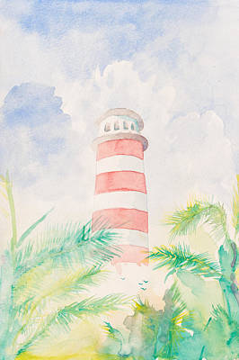 Blue Painting - Tropical Lighthouse by J Darrell Hutto