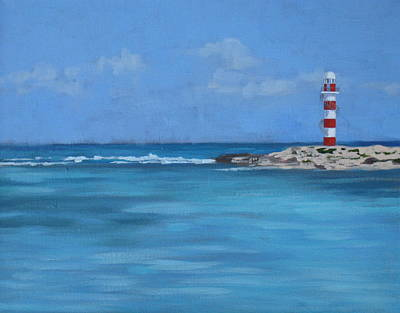 Cancun Painting - Tropical Lighthouse by Elisabeth Olver