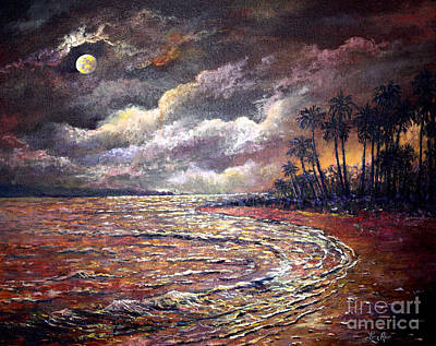 Art Print featuring the painting Tropical Moon by Lou Ann Bagnall