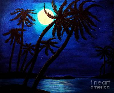 Tropical Moon On The Islands Original by Barbara Griffin