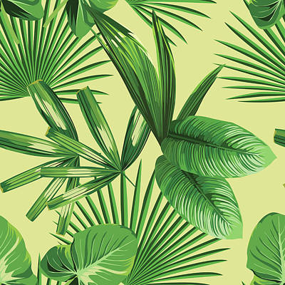 Digital Art - Tropical Palm Leaves Seamless Background by Berry2046