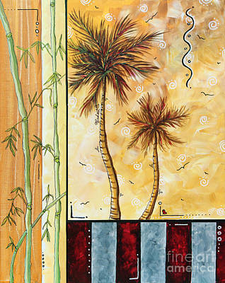 Bamboo Leaves Painting - Tropical Palm Tree Coastal Decorative Art Original Painting Tropical Breeeze I By Madart Studios by Megan Duncanson