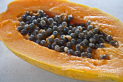 Photograph - Tropical Papaya Fruit Closeup Art Prints by Valerie Garner