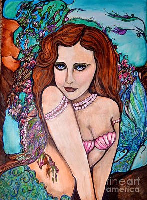 Drawing - Tropical Paradise Mermaid by Valarie Pacheco