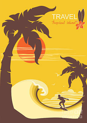 Waves Digital Art - Tropical Paradise With Palms Island And by Tancha