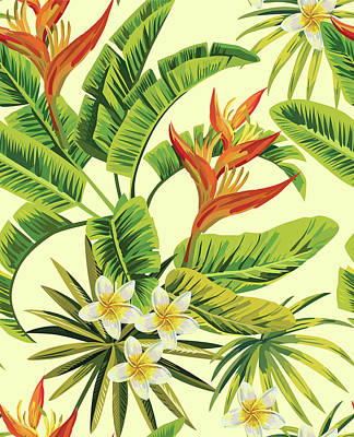 Digital Art - Tropical Plumeria Exotic Flowers Pattern by Berry2046