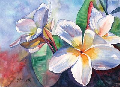 Painting - Tropical Plumeria Flowers by Marionette Taboniar